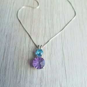 2 Carat Genuine Amethyst and Blue Topaz Necklace